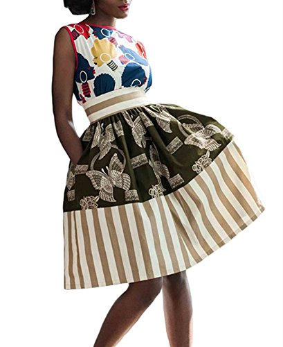 935bd09781c VIGVOG Women s Ethnic Plus-Size African Print Pull-on Pleated Midi A-line  Skirt - Best Made Africa