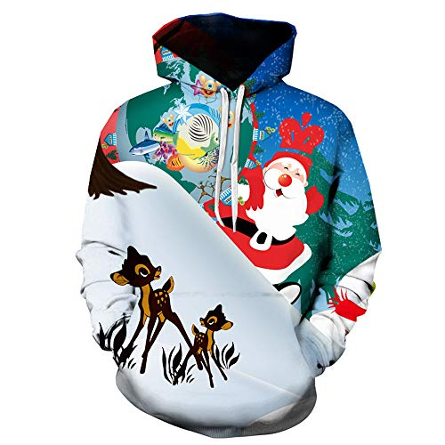 BHYDRY Mens Hoodies 3D Christmas Printing Long Sleeve Autumn Winter Sweatershirt Tops Multicolor-a