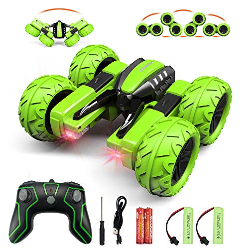 Amicool Remote Control Car, Hobby RC Car Stunt Car with LED Lights Electric 4WD 2.4Ghz Double Sided Rotating Racing…