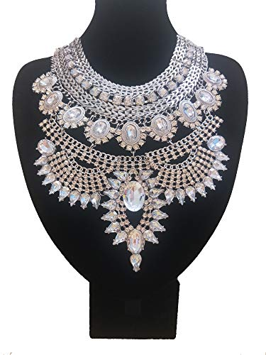 NABROJ Vintage Silver Crystal Bib Necklace, Flower Chunky Pendant Necklaces Collar Bridal costume Jewelry 1 Pc-HL23 Silver