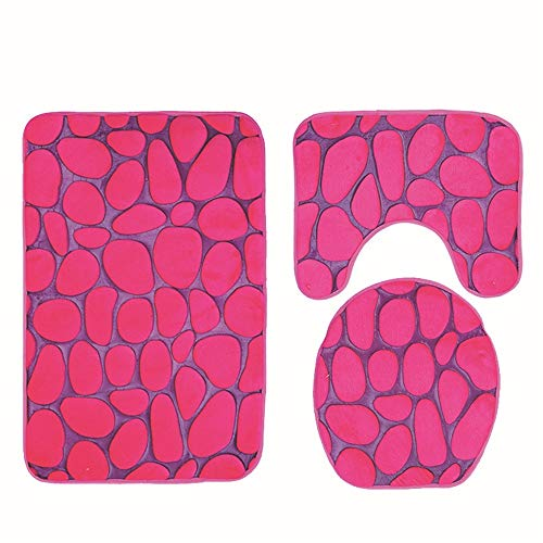 Pebbles Embossing - 3D Pebble Embossing 3 Piece Bathroom Set Mat Rug Non-Slip Contour Rug Toilet Lid Cover and Bath Mat (Color : Rose Red)