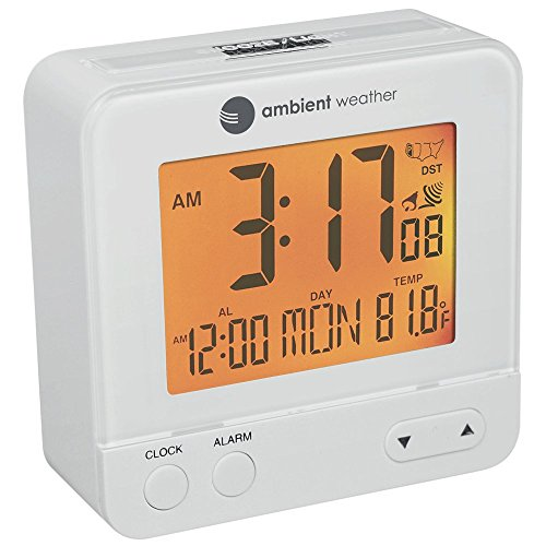 Ambient Weather RC-8300-WHITE Atomic Travel Compact Alarm Clock with Auto Night Light Feature (White)