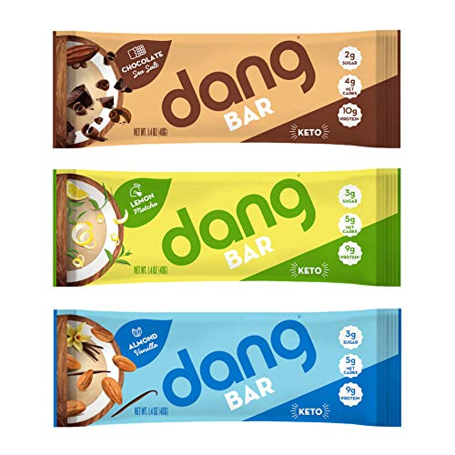 Dang Bar - KETO CERTIFIED, Low Carb, Plant Based, Gluten Free, Real Food Snack Bar, 2-3g Sugar 4-5g Net Carbs, No Sugar Alcohols or Artificial Sweeteners, 12 Count (Variety Pack | 12 Bars | 3 Flavors)