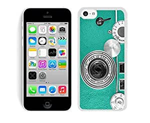 Cheap Silicone Iphone 5c Soft White Case Unique TPU Phone Cover Teal Retro Vintage Phone
