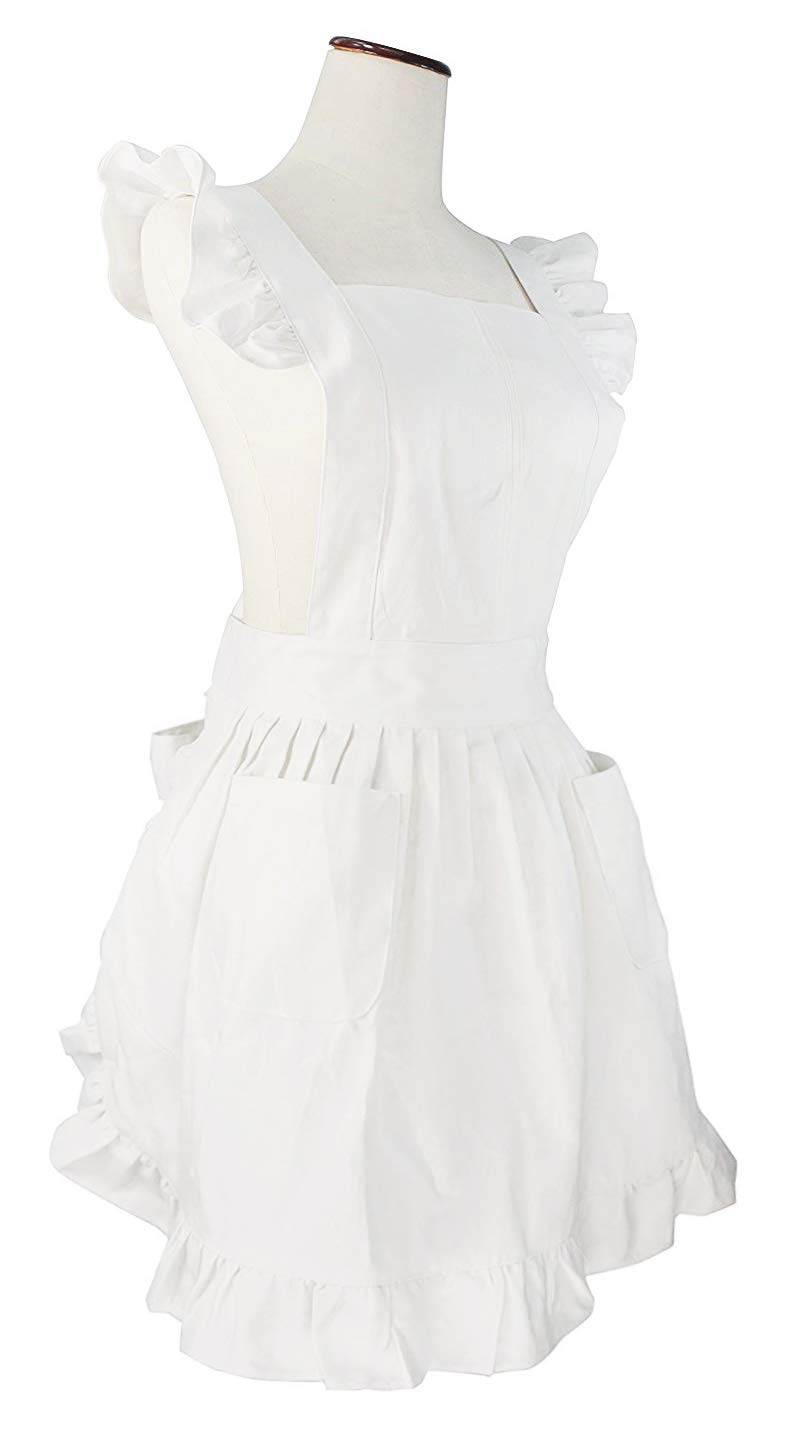99ef90f79eea5 LilMents Retro Adjustable Ruffle Apron Kitchen Cooking Baking Cleaning Maid  Costume (White)