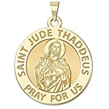 Saint Jude Religious Medal - 2/3 Inch Size of Dime, Solid 14K Yellow Gold