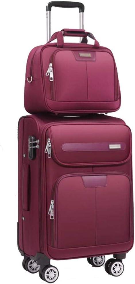 La maleta Traje de Dos Piezas Equipaje Trolley Tronco Nylon Impermeable Alta Capacidad Embarque Rueda Universal Contraseña Asignación de Viaje Unisex 4 Color CHENGYI (Color : Red, Size : 20 Inches)
