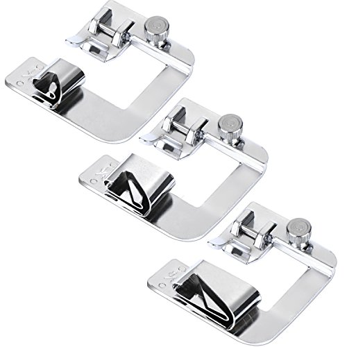 BBTO 3 Sizes Rolled Hem Pressure Foot Sewing Machine Presser Foot Hemmer Foot Set (1/ 2 Inch, 3/ 4 Inch, 1 Inch) Fit For Most Low Shank Sewing Machines