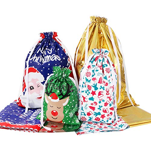 Tinksky Christmas Drawstring Gift Bags Set Assorted Styles Gift Drawstring Wrapping Xmas Goody Bags for Wrapping 30 Pack
