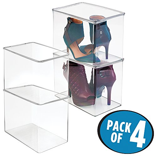 mDesign Closet Storage Organizer Shoe Box, for High Heels, Tall Pumps, Boots - Pack of 4, - Shoe Clear Boot Boxes