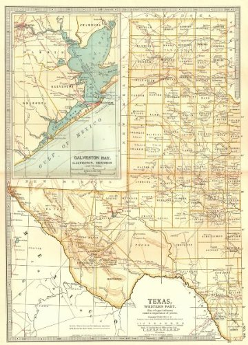 Map Of Western Texas.Amazon Com Texas West State Map Showing Counties Inset Galveston