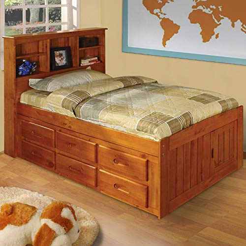 (American Furniture Classics Model 2120-12-BCH, Solid Pine Bookcase Headboard Twin Captains Bed with 12 Underbed Drawers in Honey)