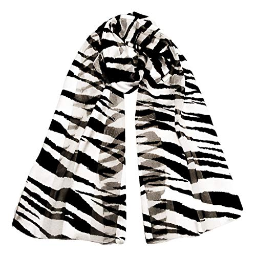 Long Black and White Zebra Animal Print Silky Chiffon Neck Scarf (Zebra Print Chiffon Scarf)