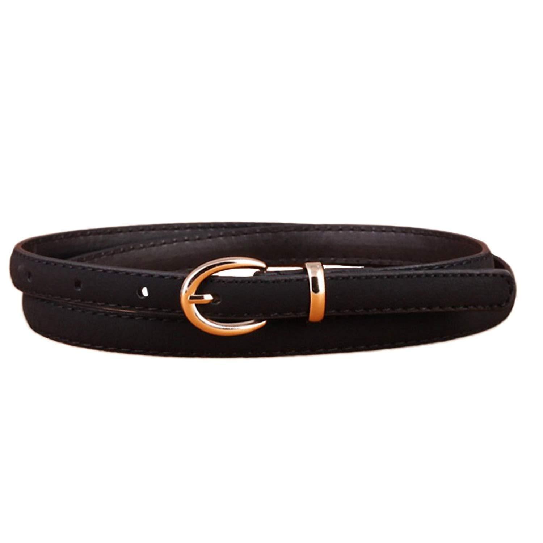 Ogquaton 1 Unids Mujeres s PU Cuero Flaco Cintur/ón Fino Cintur/ón de Hebilla de Moda para Mujeres Jeans Decoraci/ón Negro