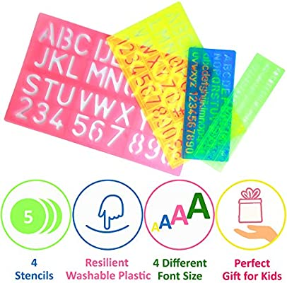 Kids Stencils Set Text Creativity Alphabet Numbers Letters Craft Rulers Poster