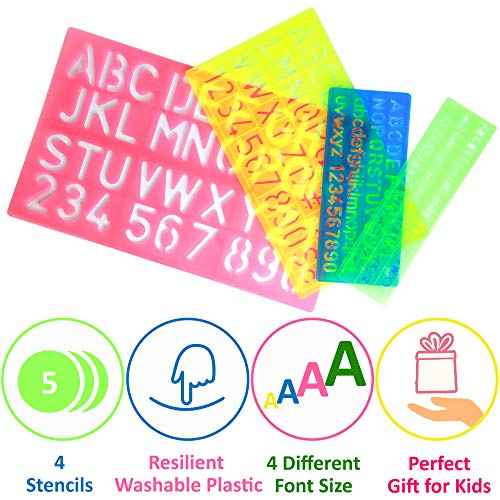 Letter Stencils Set for Kids - 4 Alphabet Number Stencils Large and Small Shape - Plastic Kid Stencil Letters and Numbers for Art - Preschool ABC Letter Templates - Lettering Stencils for Craft