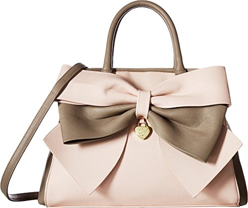 Betsey Johnson Womens Big Bow Satchel Taupe/Blush One (Betsey Satchel)