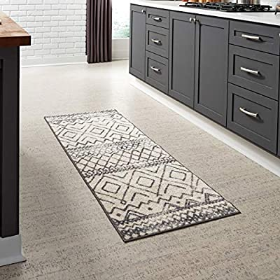 Maples Rugs Abstract Diamond Modern Distressed Non Slip Runner Rug For Hallway Entry Way Floor Carpet [Made in USA], 2 x 6, Neutral - 2' x 6' Size Runner Rug - Moroccan Inspired Rug. Brings warmth and breathing room to the space with its simple geometrical shapes. Lends an exotic feel to living areas and bedrooms Timeless Design with 100% Nylon Pile for Added Durability and Fade Resistance 0.44 Inch Pile Height, Low Profile to be Placed in Any Setting. Easy Care and Machine Washable - runner-rugs, entryway-furniture-decor, entryway-laundry-room - 51%2BAb6iFUBL. SS400  -
