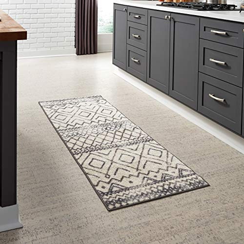 Maples Rugs 2 x 6 Distressed Style Non Skid Hallway Entry Rugs Runners [Made in USA] for Kitchen and Entryway, Neutral (Tribal Runners Rug)