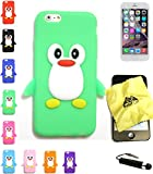 Bukit Cell Bundle 4 Items: Green Penguin Soft Silicone Animal Case for 4.7 Inch iPhone 6S / iPhone 6 + Cleaning Cloth + Screen Protector + Metallic Stylus Touch Pen