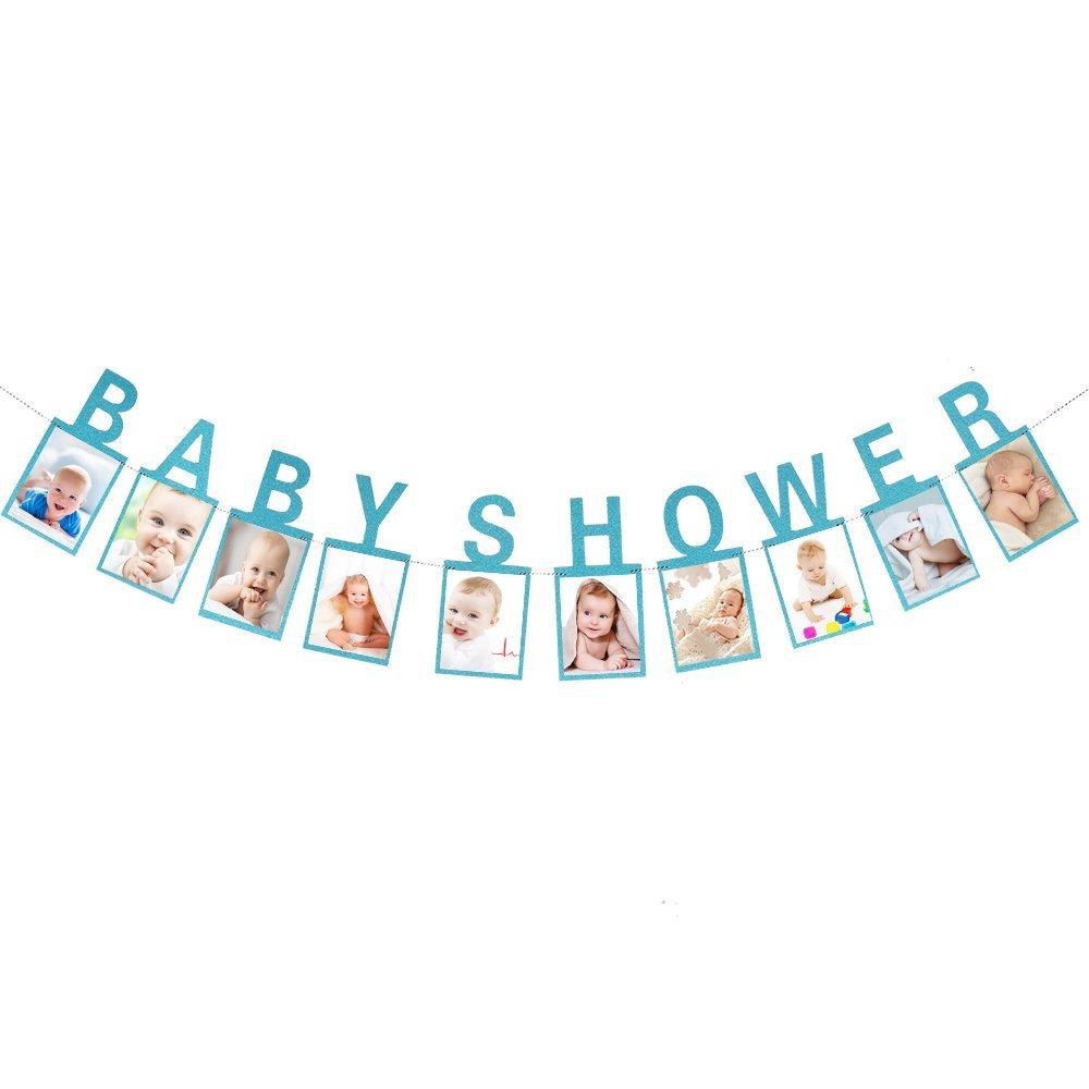 ベビーシャワー フォトバナー - ブルーグリッター 男の子と女の子 赤ちゃんのバンティング ガーランド - 性別 披露宴 写真 デコレーション サプライ ギフト   B07FZHTQ8D