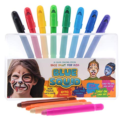 Face Paint Crayons for Kids - 12 Color No Mess Twistable Marker Sticks | Best Quality Face & Body Painting Set | Water Based Non-Toxic FDA Approved |+Online -