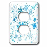 3dRose Alexis Design - Christmas - Blue snowflakes and stars in the air. Christmas snowfall - Light Switch Covers - 2 plug outlet cover (lsp_264164_6)