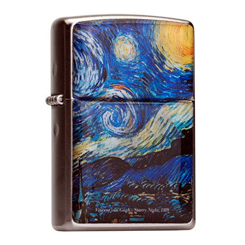(Mother of Pearl Handmade Starry Night by Van Gogh Painting Design Flip Top Windproof Metal Chrome Pocket Oil Cigarette Tobacco Smoking Camping Lighter)