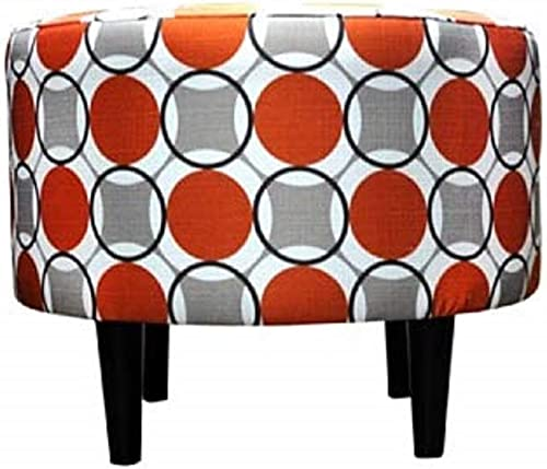 Sole Designs Abstract Halo Series Sophia Collection Round Upholstered Ottoman