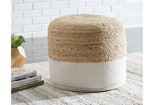 Ashley Furniture Signature Design - Sweed Valley Pouf - Comfortable Pouf & Ottoman - Casual - Natural/White by Signature Design by Ashley (Image #2)