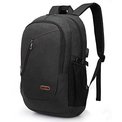 (CoolBELL Laptop Backpack with USB Charging Port/Outdoor Travel Rucksack/Water-Resistant Knapsack/Protective Day Pack School Backpack Fits 15.6 Inches Laptop for Men/Women/College / (Black))