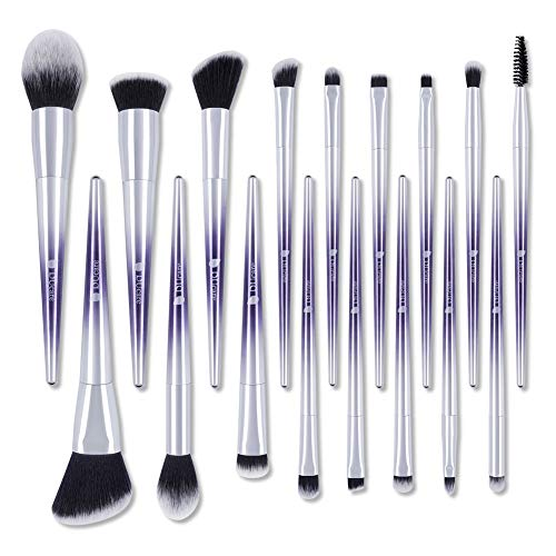 Professional Brushes For Makeup, DUcare 17Pcs Makeup Brushes Set For Eyeshadow Concealer Powder Contour Kabuki Foundation Lip Blending with Eyebrow Brush and Comb (Purple)