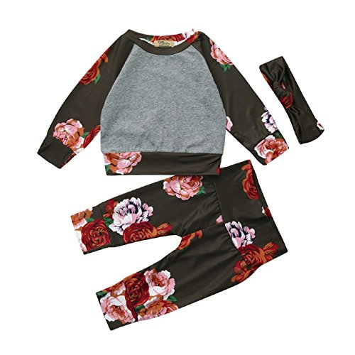 Baby Clothes Set, PPBUY Infant Boy Girl Floral Printed Tops + Pants + Headband 3Pcs Outfits Set (24M, - Sunglasses 3 Sims