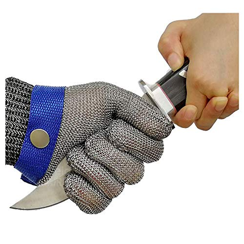 Schwer Cut Resistant Gloves-Stainless Steel Wire Metal Mesh Butcher Safety Work Glove for Meat Cutting, fishing(Small)