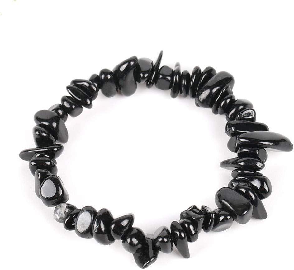 XIANNU Pulseras para Mujer,Joya Natural Stone Chip Beads turmalina Negra Pulseras para Las Mujeres de tamaño pequeño Regalo Aura meditación sanadora de Reiki