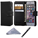 iPhone 6s Plus/6 Plus Case, Wisdompro Premium PU Leather 2-in-1 Protective [Folio Flip Wallet] Case with Credit Card Holder/Slot for Apple 5.5' iPhone 6 Plus/6s Plus-Black w/o Lanyard