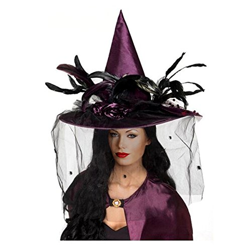 Goetland Women Deluxe Witch Hat Headwear Sharp Pointed with Veils Spiders Feathers for Party Carnival Halloween Costume, -