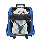 HARBO Pet Travel Carrier Rolling Backpack for Dogs Cats Small Animals Airline Travel Tote (Blue)