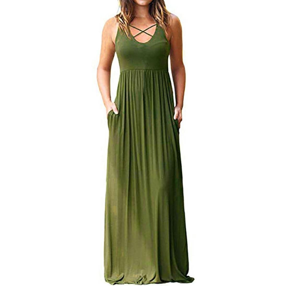 Luckylin Fashion O-Neck Sleeveless Criss Cross Front Boho Evening Long Dresses with Pockets (XL, Green)