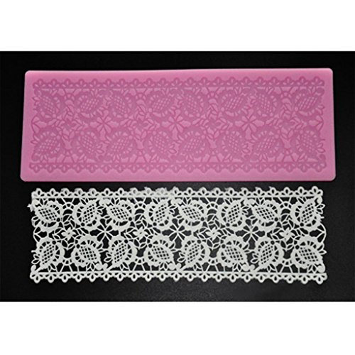 FOUR-C Baking Tools Embossing Lace Mat Silicone Cake Mold for Decoration Color Pink