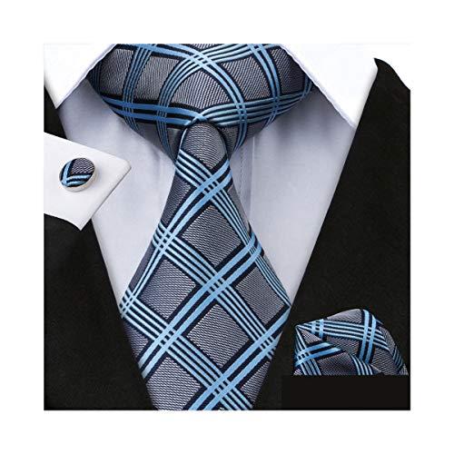 Cufflinks Mens Gray - Grey Plaid Check Tie Set Mens Formal Silk Necktie with Hanky and Cufflinks