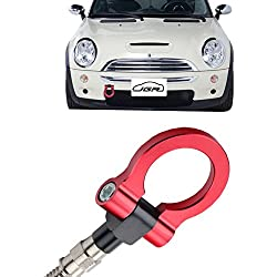 JGR Red Front Bumper Tow Hook Bolt on Aluminum Sport Racing Accessories Tow Eye Hook Hinge for Mini Cooper R50 R51 R52 R53 R55 R56 R57 R58 R59 1st Gen & 2ed Gen
