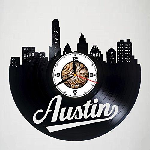 Austin - Texas - Handmade Vinyl Wall Clock - Artwork gift idea for birthday, christmas, women, men, friends, girlfriend boyfriend and teens - living kids room nursery - Customize your clock ! ()