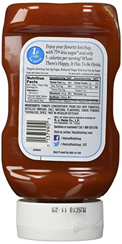 Heinz Reduced Sugar Ketchup, 13 oz (Pack of 2) - MenuCulture