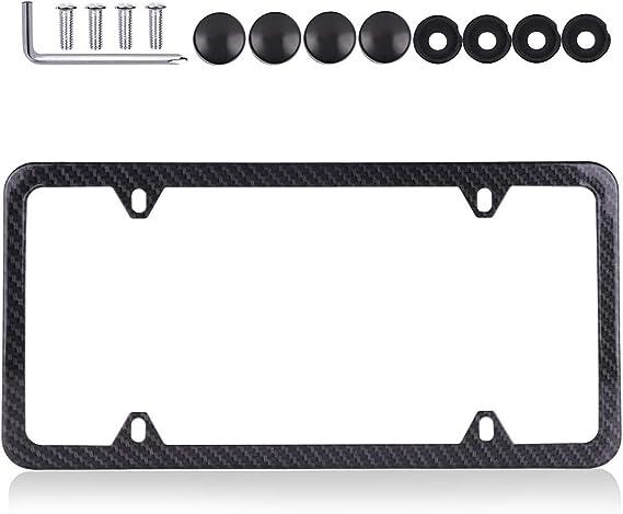 cciyu License Plates Frames Carbon Fiber Style for Front Rear Car Bottom License Plate Frames 1Pcs 4 Holes Black Licenses Plate Covers for US Vehicles