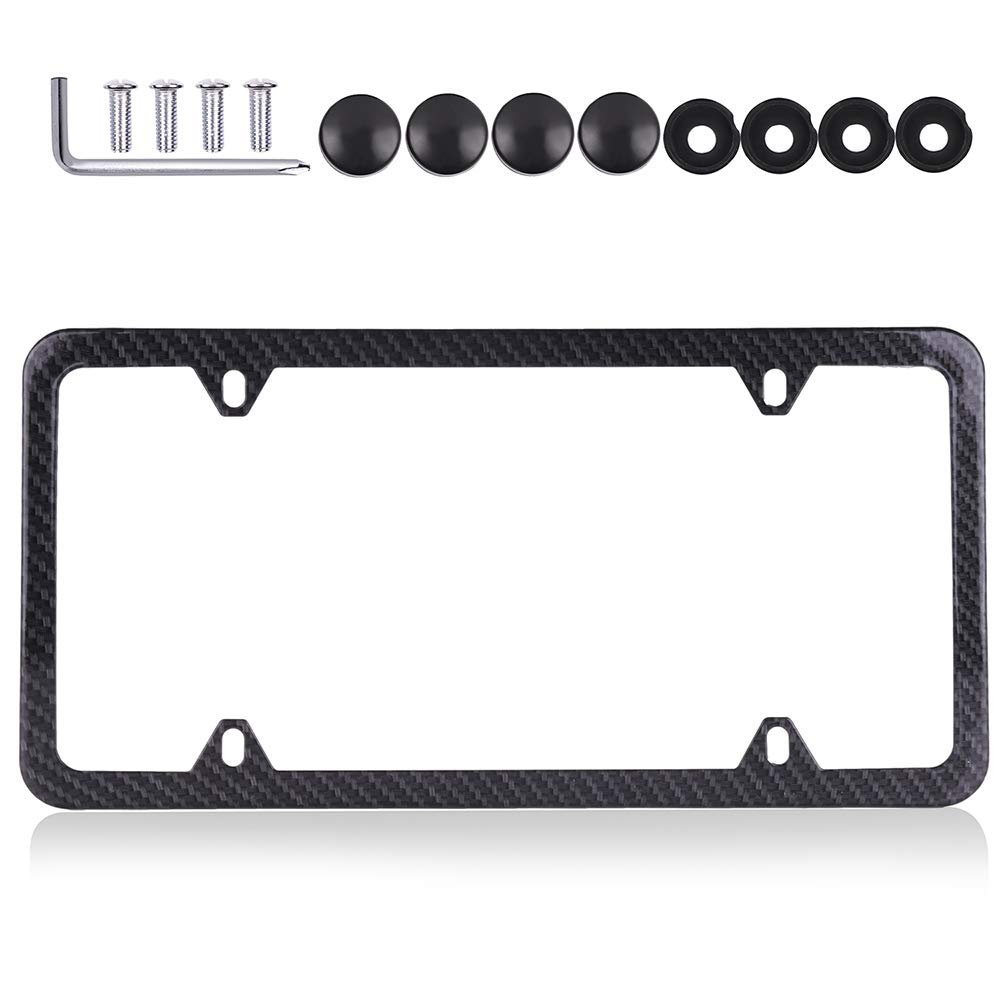 ROADFAR License Plate Frame Chrome Screw Caps Aluminum Tag Holders 4 Holes kit,1pcs Car Licenses Plate Covers Holders,Black Protect Front Back License Plates US Vehicles 123976-5231-1116141681