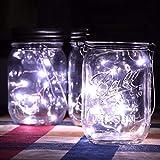 H+K+L Solar Energy Environment-Friendly Wall Lamp Mason Cap Lamp LED Lights String Party Wedding Decoration (White)