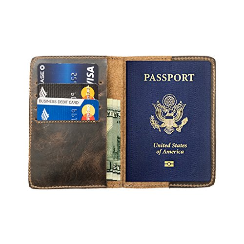 Durable Leather Passport Holder Handmade by Hide & Drink :: Bourbon Brown