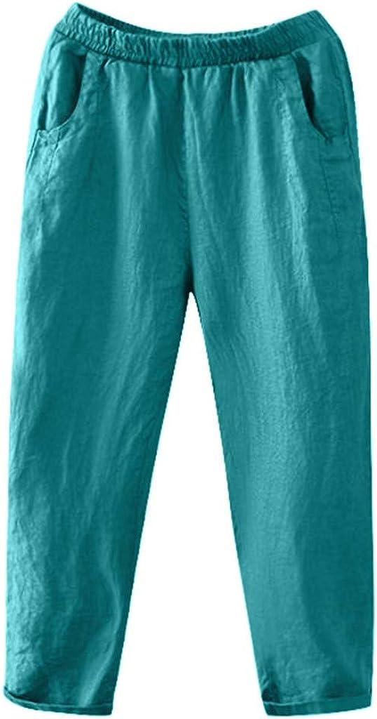 Pantalons Femme Lin,ITISME Pantalons Femme Fluide Taille /élastique Automne et Hiver Casual D/écontract/ée Souple Solide Lin Coton /Élastique Poche Pantalon Large Ample Taille Haute