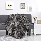 LANGRIA Luxury Super Soft Faux Fur Fleece Throw Blanket Cozy Fluffy Warm Breathable Lightweight and Machine Washable Dyed Fabric for Winter - Decorative Throw for Couch Sofa Bed (50' x 60', Grey)